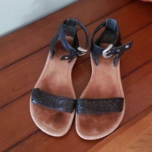 UGG leather ankle strap sandals
